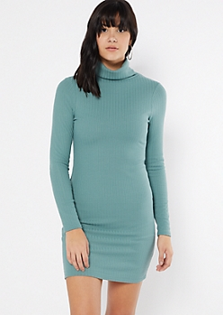 Teal Turtleneck Long Sleeve Bodycon Dress