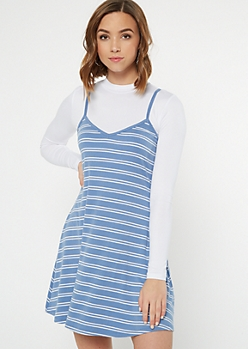 Blue Striped Ribbed Knit Layered Cami Dress