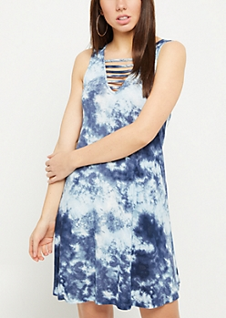Navy Tie Dye Print Caged Swing Dress