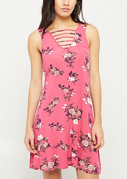 Dark Pink Floral Print Caged Swing Dress