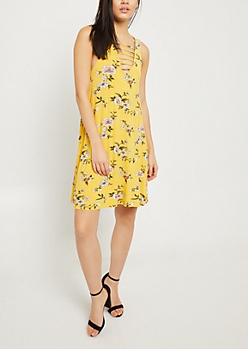 Mustard Floral Print Caged V Neck Swing Dress