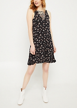 Black Floral Print Caged V Neck Swing Dress