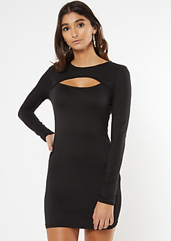 Black Super Soft Cutout Long Sleeve Dress
