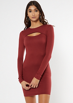 Burgundy Super Soft Cutout Long Sleeve Dress