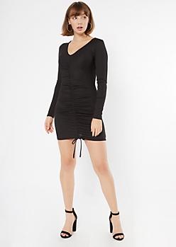 Black Ruched Drawstring V Neck Bodycon Dress