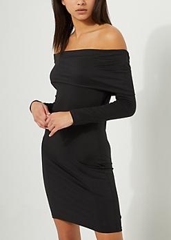 Black Foldover Off Shoulder Bodycon Dress