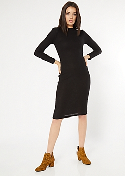 Black Mock Neck Midi Sweater Dress