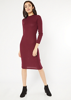 Burgundy Mock Neck Midi Sweater Dress