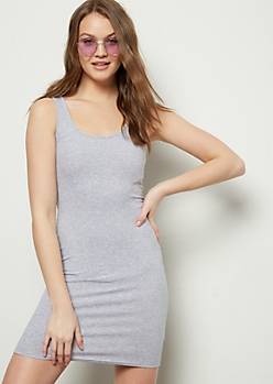 Gray Ribbed Knit Scoop Neck Midi Bodycon Dress