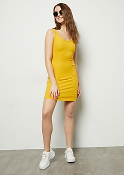 Mustard Ribbed Knit Scoop Neck Midi Bodycon Dress