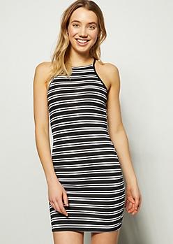 Black Striped Ribbed Knit High Neck Dress