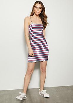 Navy Striped Lettuce Edge Sleeveless Dress
