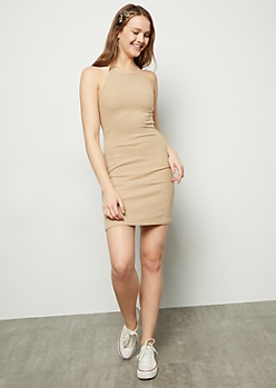 Taupe High Neck Ribbed Knit Bodycon Mini Dress