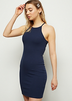 Navy High Neck Ribbed Knit Bodycon Mini Dress