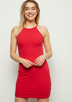 Red High Neck Ribbed Knit Bodycon Mini Dress