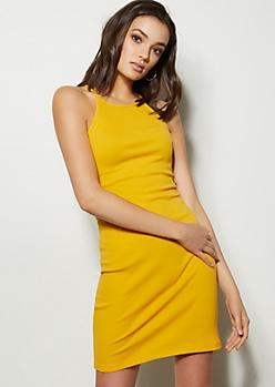 Mustard High Neck Ribbed Knit Bodycon Mini Dress