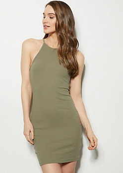 1dbc15642a7 Olive High Neck Ribbed Knit Bodycon Mini Dress