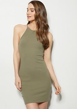 Olive High Neck Ribbed Knit Bodycon Mini Dress