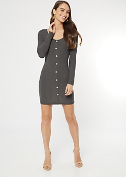 Gray Button Front Scoop Neck Dress