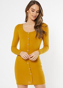 Mustard Button Front Scoop Neck Midi Dress