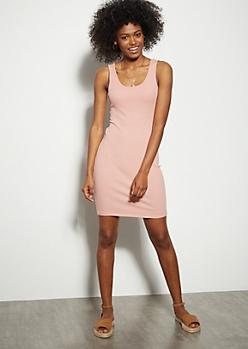 Pink Ribbed Knit Tank Top Mini Dress