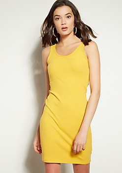 Yellow Ribbed Knit Tank Top Mini Dress