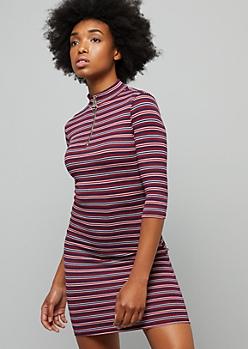 Burgundy Striped Ribbed Knit Half Zip Mini Dress