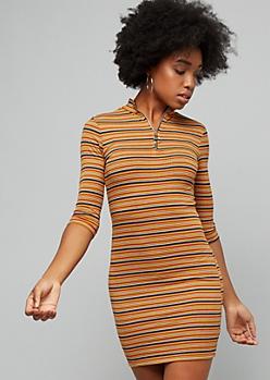Mustard Striped Ribbed Knit Half Zip Mini Dress