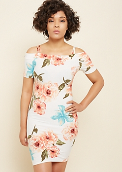 Ivory Floral Print Off The Shoulder Bodycon Dress