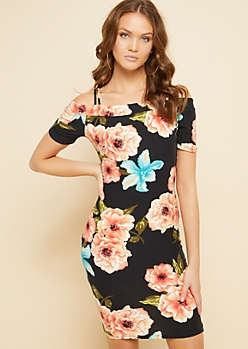 Black Floral Print Strappy Cold Shoulder Mini Dress