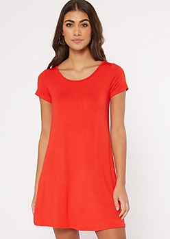 Red Swing T Shirt Dress