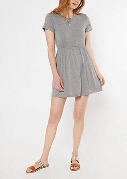 Heather Gray Super Soft Babydoll Dress