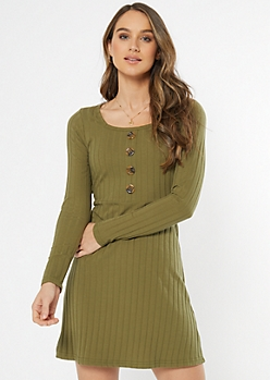Olive Faux Button Skater Dress
