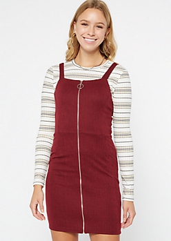 Burgundy Double Knit O Ring Skirtall Dress