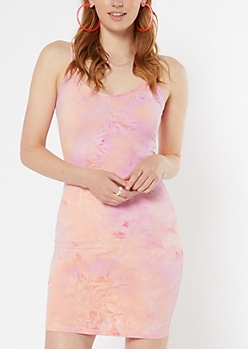 Pink Tie Dye Fitted Cami Dress