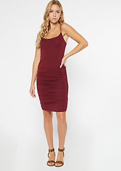 Burgundy Ruched Bodycon Mini Dress