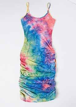 Rainbow Tie Dye Ruched Side Mini Dress