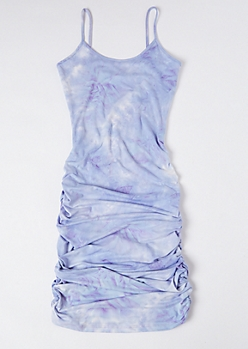 Cloud Tie Dye Ruched Side Mini Dress