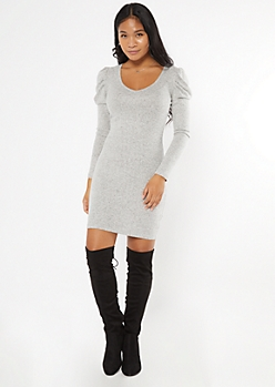 Heather Gray Puff Sleeve Hacci Knit Dress