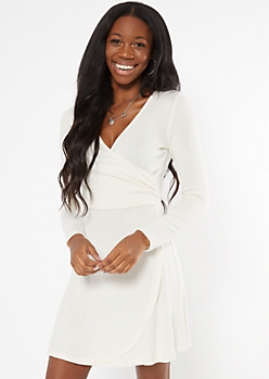 Ivory Hacci Knit Wrap Mini Dress