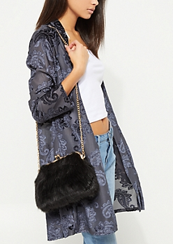 Black Faux Fur Crossbody Bag
