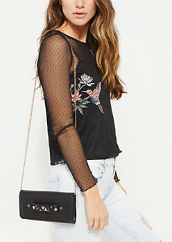 Black Geo Studded Crossbody Bag