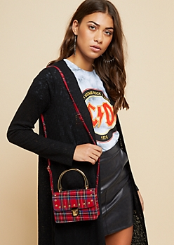 Red Plaid Print Mini Satchel Crossbody Bag