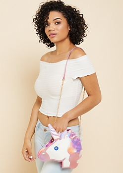 Iridescent Unicorn Round Crossbody Bag