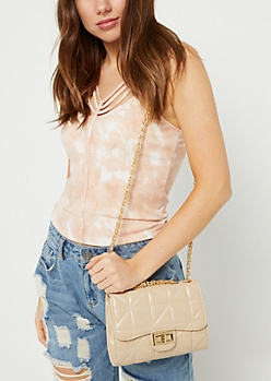 Taupe Quilted Crossbody Bag