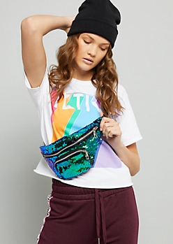 Iridescent Turquoise Sequin Fanny Pack