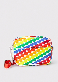 Rainbow Heart Crossbody Camera Bag