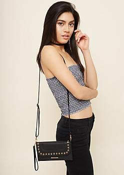 Black Faux Snakeskin Studded Crossbody Bag