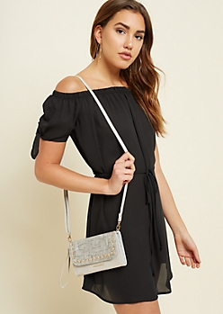 Gray Faux Denim Studded Crossbody Bag