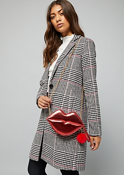Red Pom Pom Lips Crossbody Bag